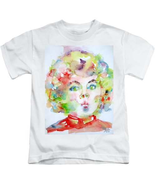 Shirley Temple - Watercolor Portrait.2 Kids T-Shirt by Fabrizio Cassetta