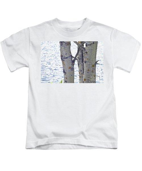 Silver Birch Trees At A Sunny Lake Kids T-Shirt