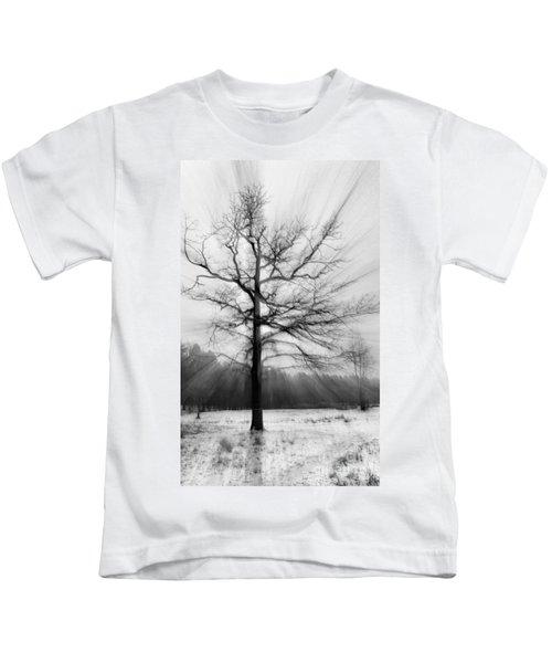 Single Leafless Tree In Winter Forest Kids T-Shirt