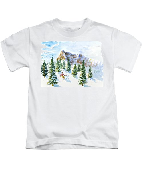 Skier In The Trees Kids T-Shirt
