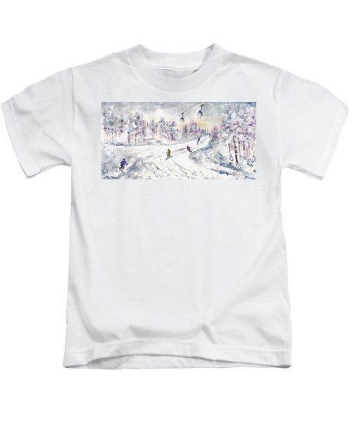 Skiing In The Dolomites In Italy 01 Kids T-Shirt