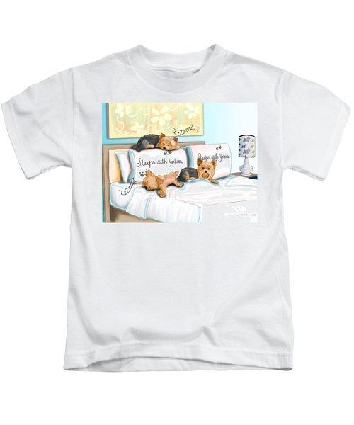 Sleeps With Yorkies Kids T-Shirt