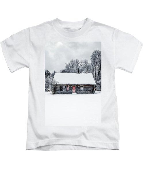 Snow Covered Log Cabin Kids T-Shirt
