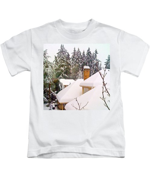 Snow Covered Rooftops - Winter In Lake Oswego Or Kids T-Shirt