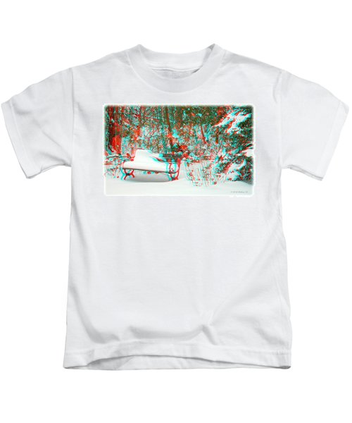 Snowy Bench - Use Red-cyan Filtered 3d Glasses Kids T-Shirt