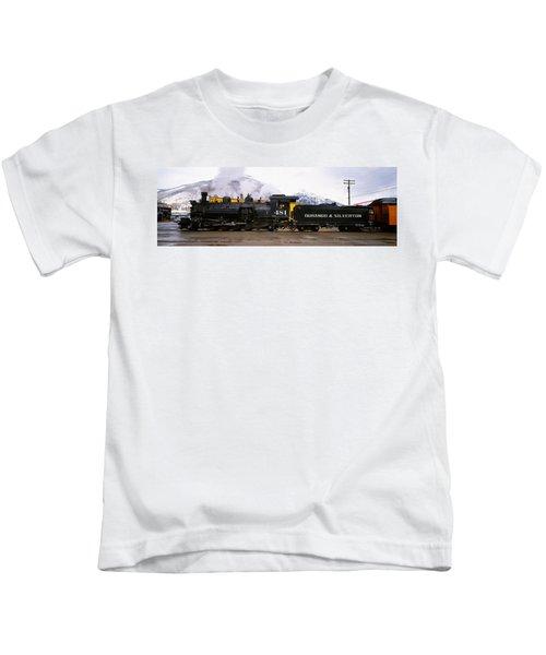 Steam Train On Railroad Track, Durango Kids T-Shirt