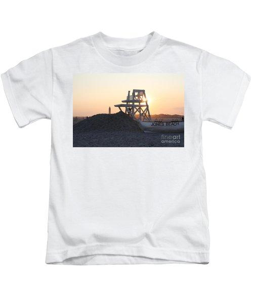 Sunset At Jones Beach Kids T-Shirt
