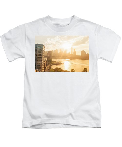 Sunset - Brooklyn Bridge - New York City Kids T-Shirt