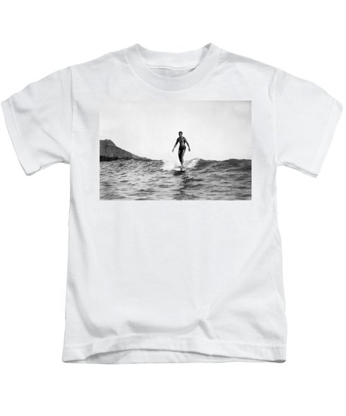 Surfing At Waikiki Beach Kids T-Shirt