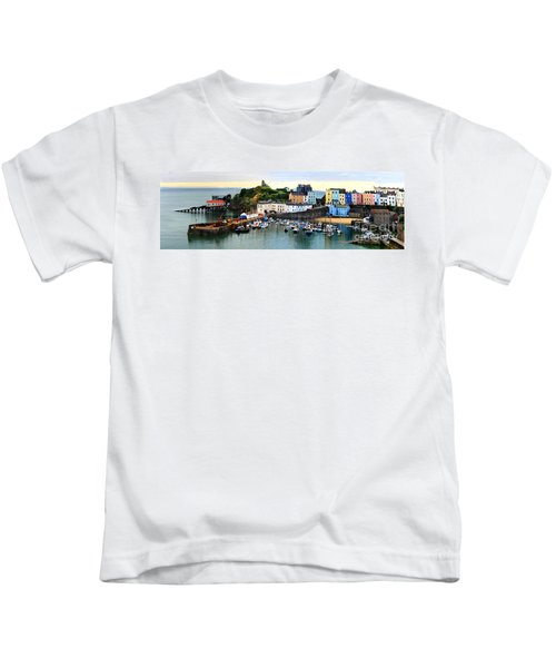 Tenby Harbour Panorama Kids T-Shirt
