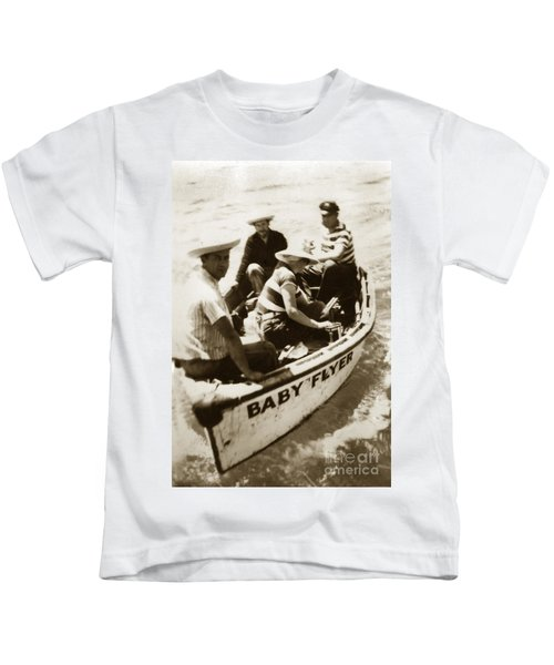 The Baby Flyer With Ed Ricketts And John Steinbeck  In Sea Of Cortez  1940 Kids T-Shirt