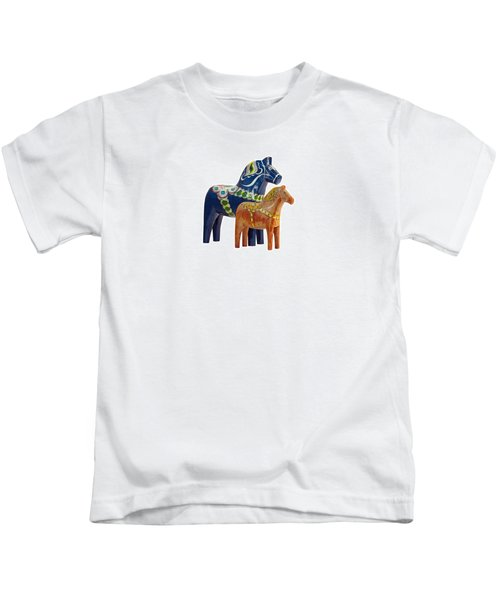 The Blue And Red Dala Horse Kids T-Shirt