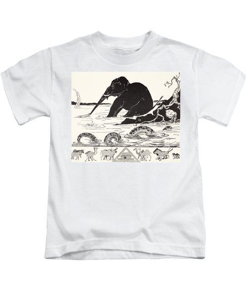 The Elephant's Child Having His Nose Pulled By The Crocodile Kids T-Shirt by Joseph Rudyard Kipling