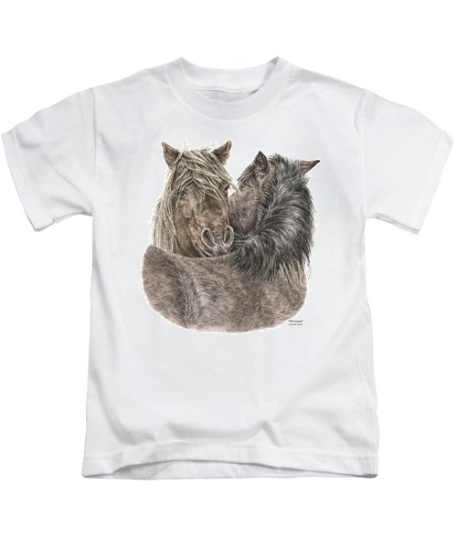 The Groom - Chincoteague Pony Print - Color Tinted Kids T-Shirt