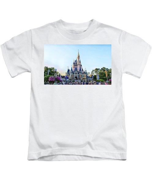 The Magic Kingdom Castle On A Beautiful Summer Day Horizontal Kids T-Shirt