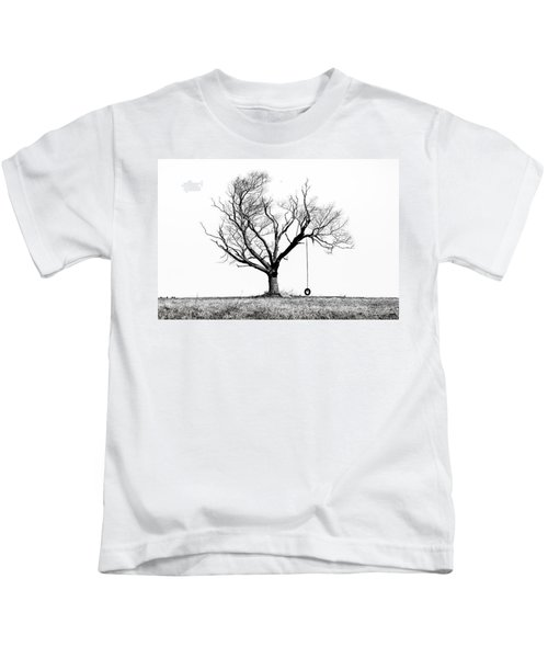 The Playmate - Old Tree And Tire Swing On An Open Field Kids T-Shirt