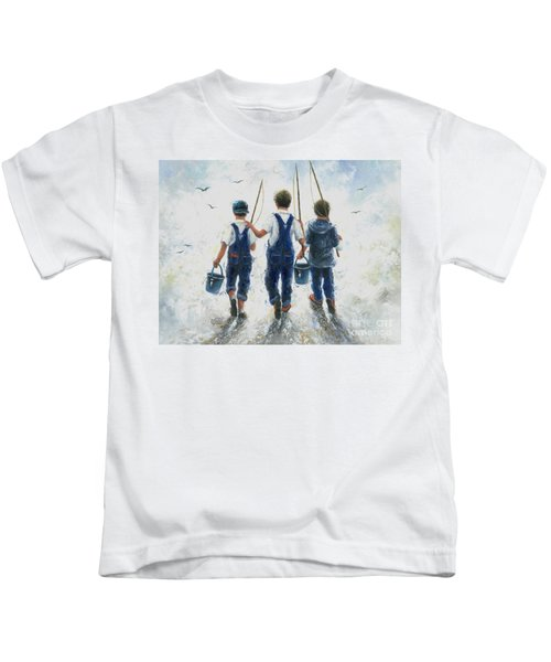 Three Boys Going Fishing Kids T-Shirt