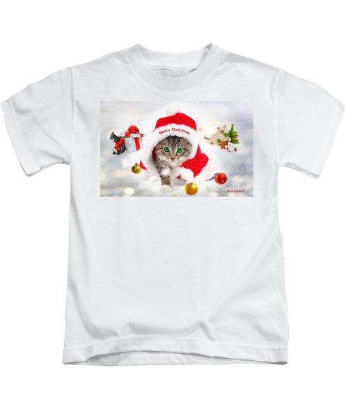 Three Christmas Kittens Kids T-Shirt