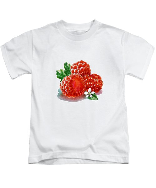Three Happy Raspberries Kids T-Shirt by Irina Sztukowski