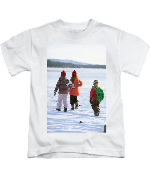 Three Kids Heading Out To Ice Skate Kids T-Shirt