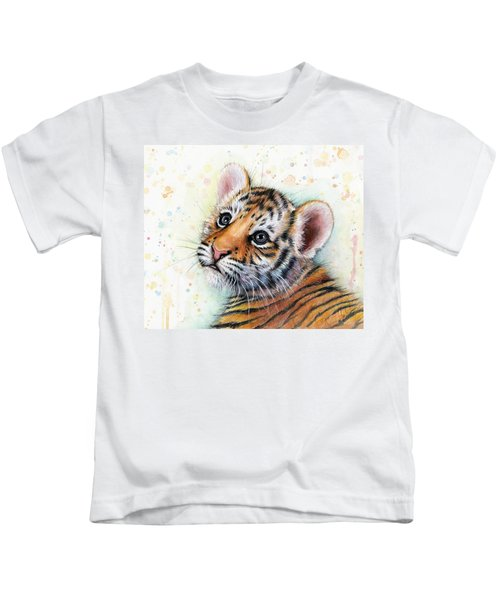 Tiger Cub Watercolor Art Kids T-Shirt