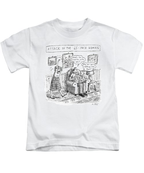 Title: Attack Of The 65-inch Woman. A Woman Walks Kids T-Shirt