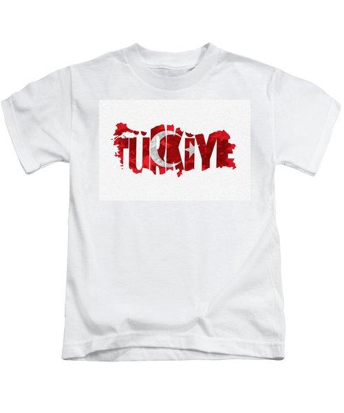 Turkey Typographic Map Flag Kids T-Shirt