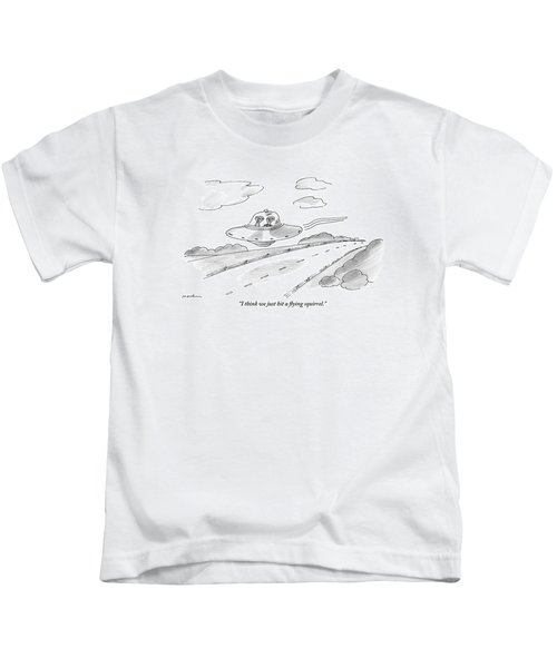 Two Aliens Fly A Saucer Down A Highway Kids T-Shirt