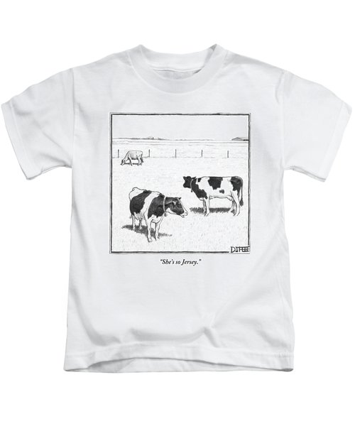 Two Spotted Cows Looking At A Jersey Cow Kids T-Shirt