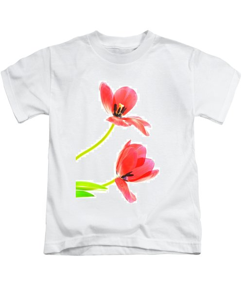 Two Red Transparent Flowers Kids T-Shirt