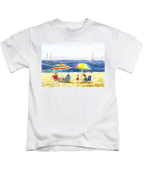 Two Umbrellas On The Beach California  Kids T-Shirt