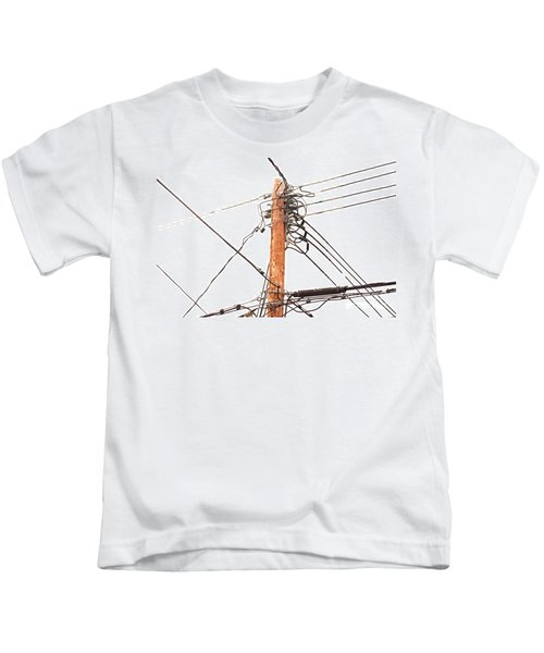 Utility Pole Hung With Electricity Power Cables Kids T-Shirt