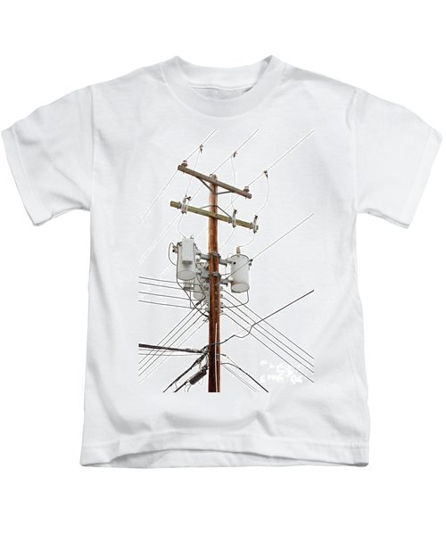 Utility Pole With Power Cables And Transformers Kids T-Shirt