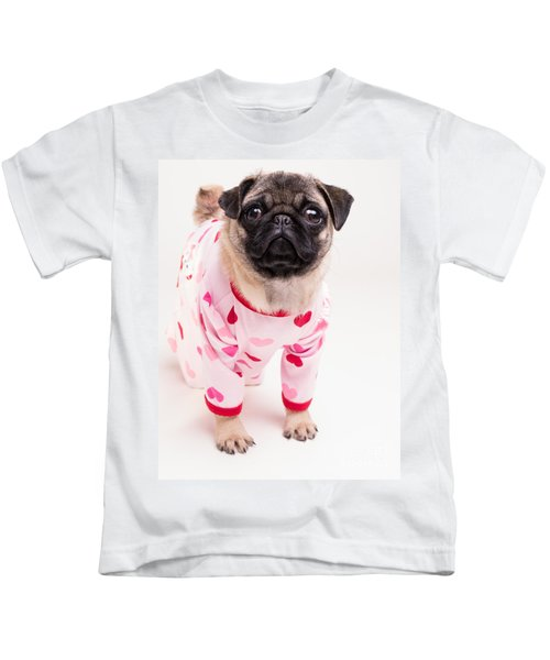 Valentine's Day - Adorable Pug Puppy In Pajamas Kids T-Shirt