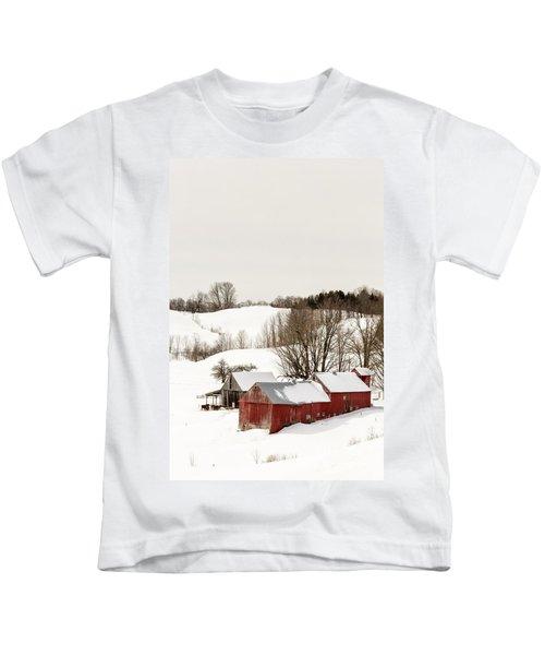 Vermont Farm Scene In Winter Kids T-Shirt