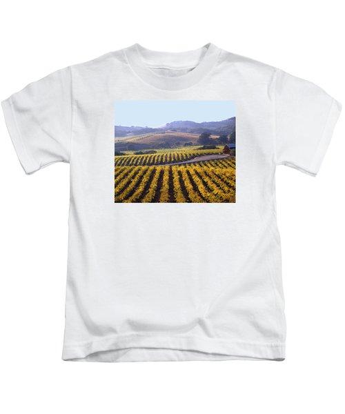 6b6386-vineyard In Autumn Kids T-Shirt