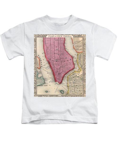 Vintage 1860 New York City Map Kids T-Shirt