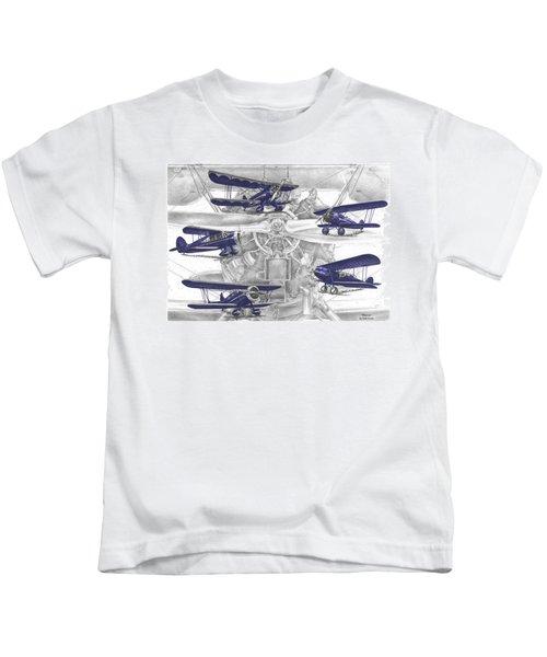 Wacos - Vintage Biplane Aviation Art With Color Kids T-Shirt