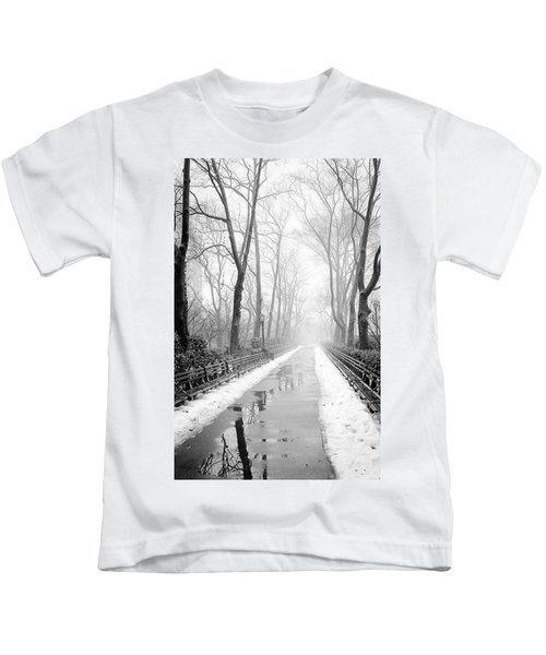 Walkway Snow And Fog Nyc Kids T-Shirt