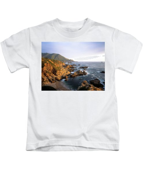 Waves Breaking On Garrapata Beach Kids T-Shirt
