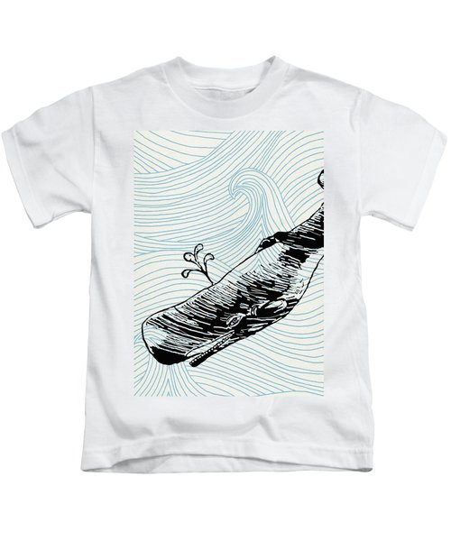Whale On Wave Paper Kids T-Shirt