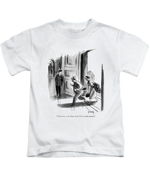 Which Way To The Mona Lisa? We're Double-parked Kids T-Shirt by Barney Tobey
