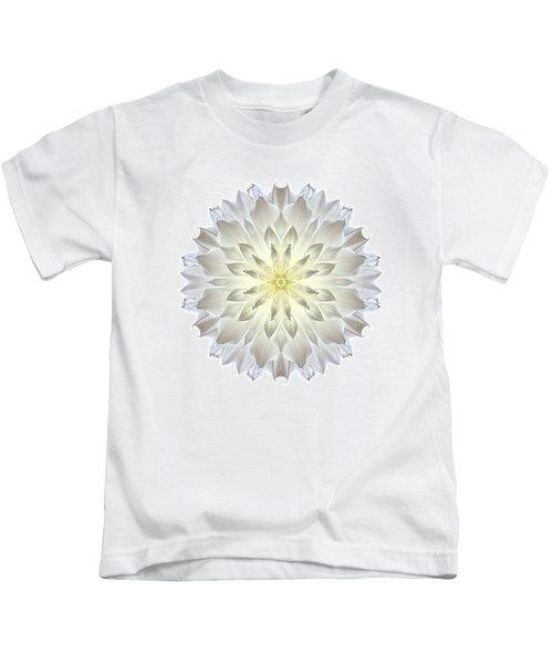 Giant White Dahlia I Flower Mandala White Kids T-Shirt