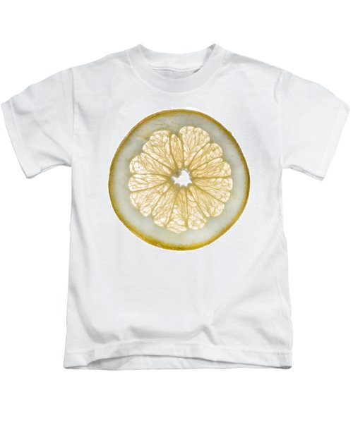 White Grapefruit Slice Kids T-Shirt by Steve Gadomski