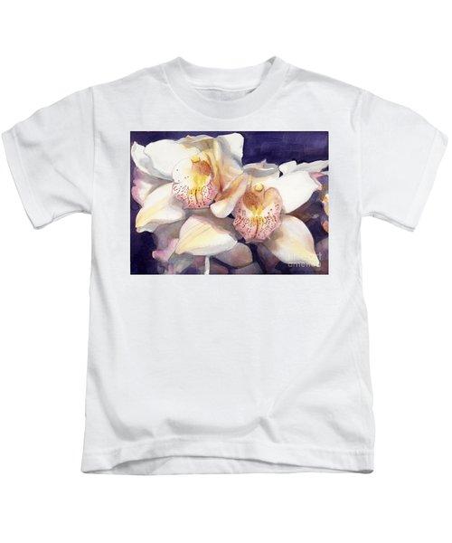 White Orchids Watercolor Kids T-Shirt