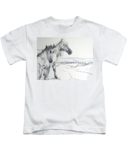 Wild Horses Drawing Kids T-Shirt