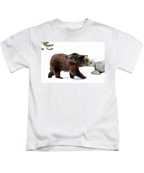 Winter Bear Walk Kids T-Shirt