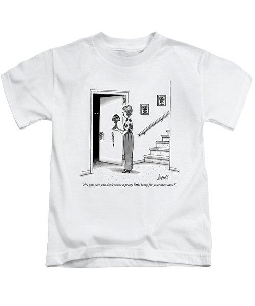 Woman Holding Lamp Stands At Dark Bedroom Doorway Kids T-Shirt