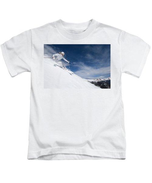 Woman Skiing At Loveland, Colorado Kids T-Shirt