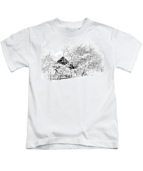 Wooden House After Heavy Snowfall. Russia Kids T-Shirt